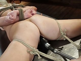 Tied Up Blonde Chick With Sweet Rump Lilly Bell Is Fucked With Crazy Orgy Machine