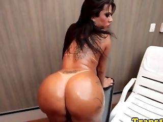 Pierced Transsexual Wanking Her Hard Fuck-stick