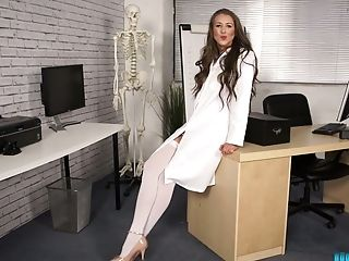 Lovemaking-greedy Nurse In Milky Stockings Jemma Takes Off Her Clothes