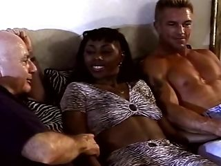 Interracial 3some With First-ever Time Swapper Dark-hued Mummy