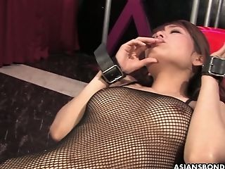 Shaggy Vag Of Cuffed Asian Breezy Yui Shimizu Is Taunted With Lovemaking Fucktoys
