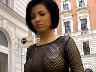 Supah Sexy Russian, Crimson Leather & Mesh Top