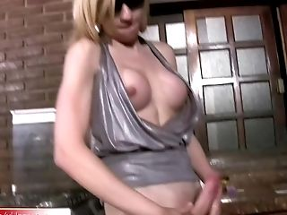Buxom Blonde Shemale Masturbates Girly Shecock In High Boots