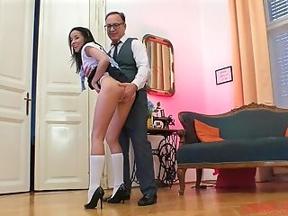 Super-naughty Teenage Dark-haired Francys Belle Rails An Old Stud And Makes Him Jizm