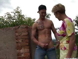 Old Buxom Granny Fucks And Deep-throats The Bad Youngster