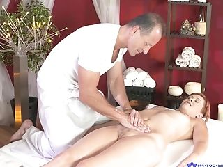 Ginger-haired Cutie Lucie Dicas Fucked By A Large Dick Rubdown Therapist