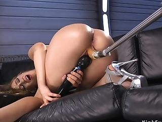 Stunning Blonde In High High-heeled Slippers Fucks Machine
